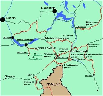 Map of Meiringen area