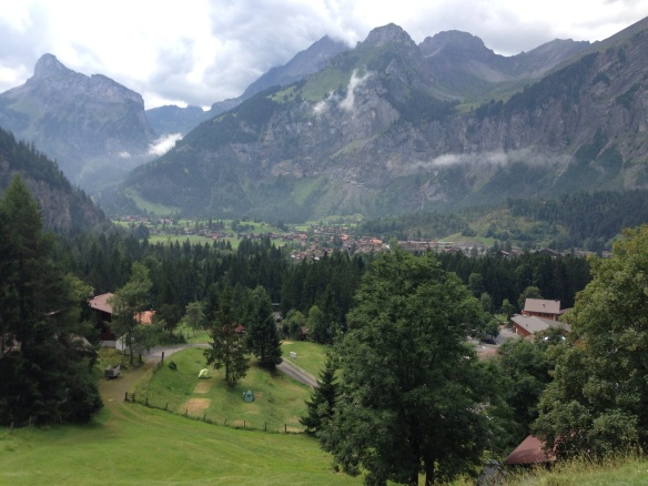 Looking back down to Kandersteg on our hike up to Oecheninsee