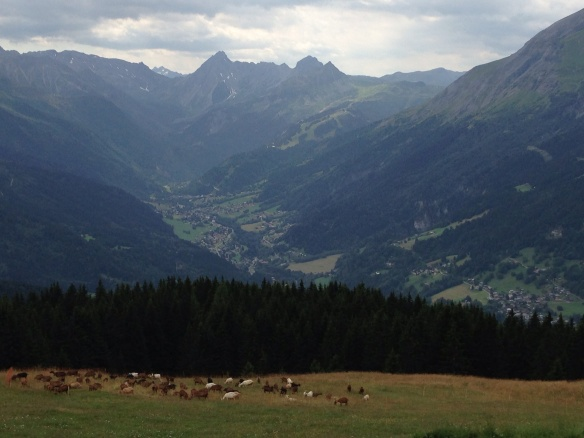 Looking up valley towards Les Contamines, France