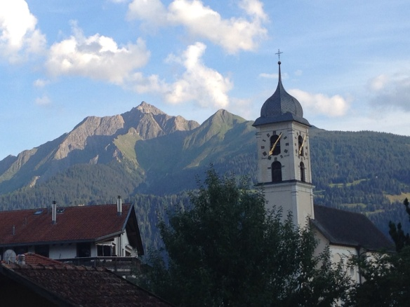 A very typical bell tower; Laax, Switzerland