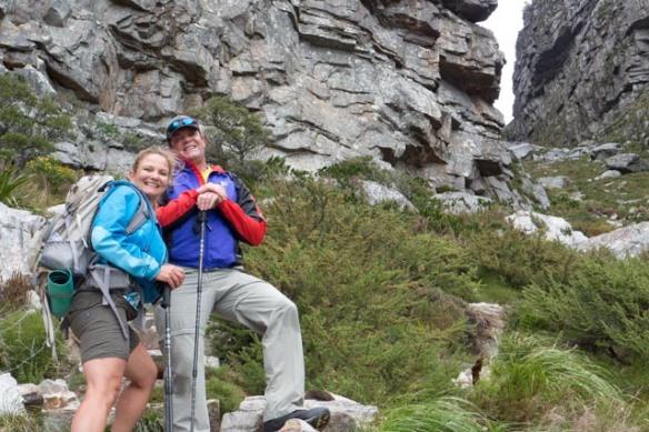 Hiking up Platteklip Gorge