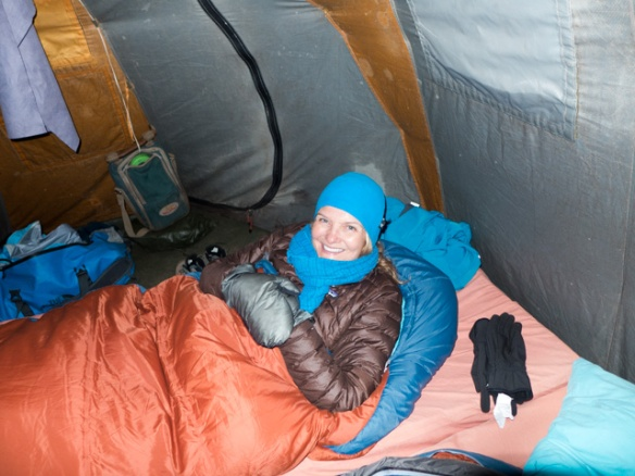 Nighttime - BRRRRRR! But one happy camper!