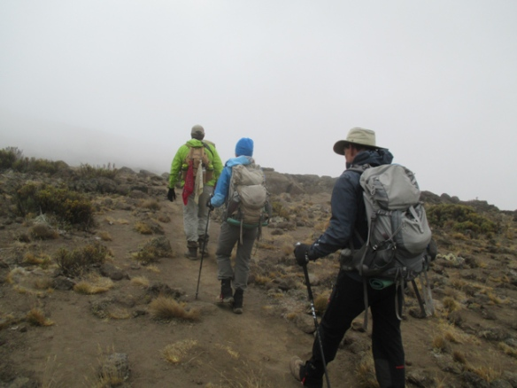 Starting out on our trek across the Kilimanjaro Saddle from the Mawenzi base camp to the Kibo base camp.