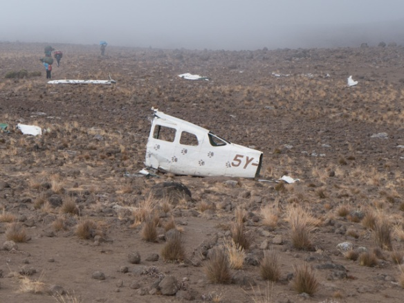 Sad.... a small plane clipped Mawenzi and crashed into the Saddle in 2008.  It was a bit eerie.