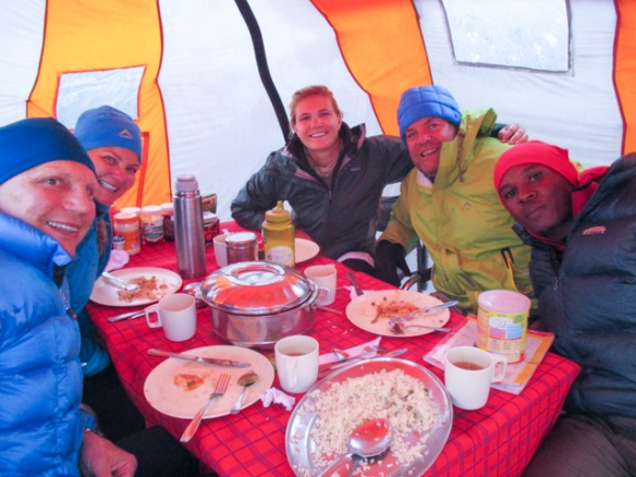 """Our """"last supper"""" the evening before scaling Kibo."""