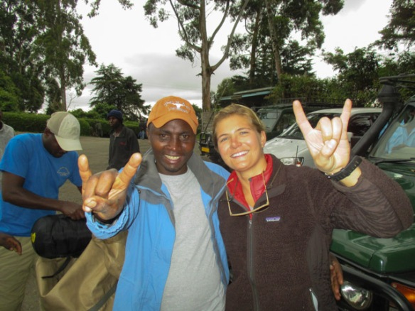"One of our porters was wearing a Texas Longhorns cap, but he didn't know about them.  Anne-Marie tried to ""educate"" him."