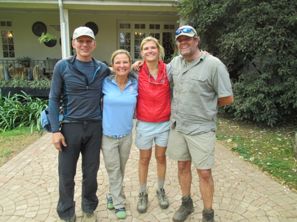Just after returning to the Arusha resort after a two-hour ride from the base of Kili.  A tired but happy bunch.