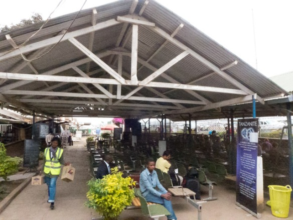 An inside look at the Arusha Airport departure lounge.