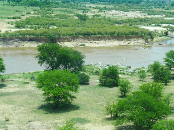 The Mara River is the border between Kenya on the north and Tanzania on the south.  It serves as a difficult obstacle for the migrating Wildebeests and Zebras.