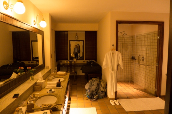 The bathrooms are amazing; tub and wardrobe almost doubles what you see in this pic