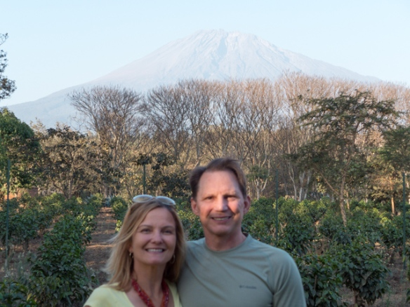 Out our door... coffee plantation and Mount Meru